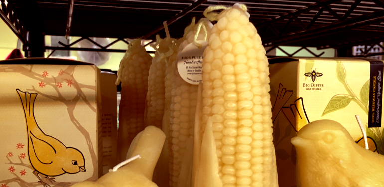 made in seattle big dipper bees wax corn and bird candles