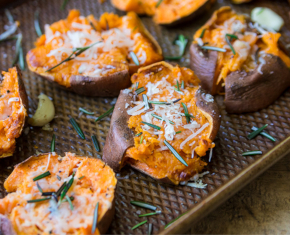 Image of Garlic Parmesan Smashed Sweet Potato Rounds