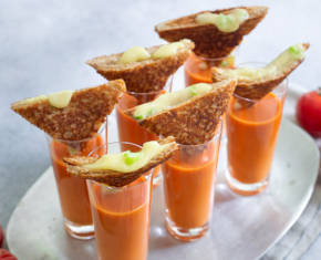 Creamy Tomato Soup Shooters with Grilled Brie